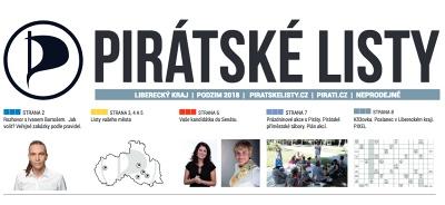 Pirátské listy – Liberecký kraj –září 2018, náhled.